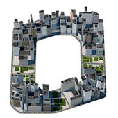 City in the form of letters O — Stock Photo