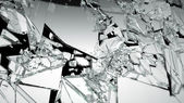 Demolished glass with sharp pieces — Stock Photo