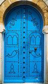 Traditional blue door — Stock Photo