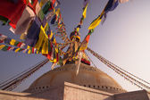 Flags and Boudhanath stupa — Photo