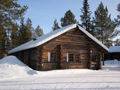 Lapland log cabin — Stock Photo