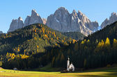 Dolomites mountain church — Stock Photo