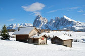 Chalets on the Alpe di Siusi — Stock Photo