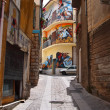 Street view with wall paintings in Orgosolo — Stock Photo