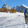 Hiking in the Dolomites in autumn — Stock Photo #28527353