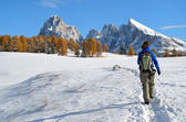 Hiking in the Dolomites in autumn — Stock Photo