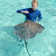 Tourist playing with stingray in a lagoon — Stock Photo