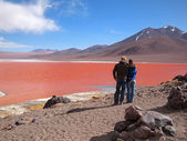 Tourists at the Red Lagoon — Stock Photo