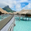 Stock Photo: Luxury overwater vacation resort on BorBora