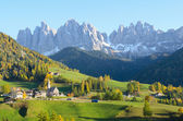 Village with Dolomites background — Stock Photo