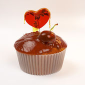 Valentine's day cupcake — Stock Photo