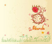 March 8 in vintage style — Stock Vector