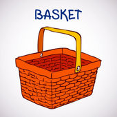 Shopping basket sketch icon — Stock Vector