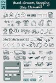 Hand Drawn Shopping Elements Set — Stock Vector