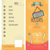 Happy Holiday and Christmas menu — Vector de stock