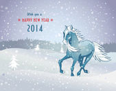 Winter landscape with snow horse new year 2014 — Vector de stock