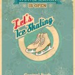 Ice skating retro poster — 图库矢量图片