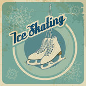 Ice skating retro card — Stock Vector