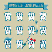 Set of human teeth funny characters — Stock Vector