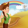 Farm girl cartoon character — Stock Vector
