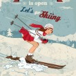 Stock Vector: Vintage pin-up girl skiing poster