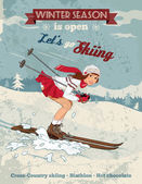 Vintage pin-up girl skiing poster — Stock Vector