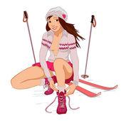 Bella ragazza pin-up con gli sci — Vettoriale Stock