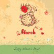 Stock Vector: Women's Day March 8 vintage card