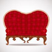 Sofá de cuero rojo elegante en forma de corazón — Vector de stock