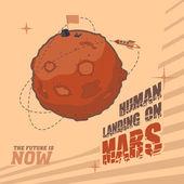Vintage space postcard of human landing on Mars — Stock Vector