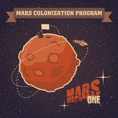 Vintage postcard of Mars colonization project — Stock Vector