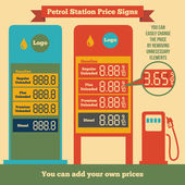 Petrol station price signs — Stock Vector