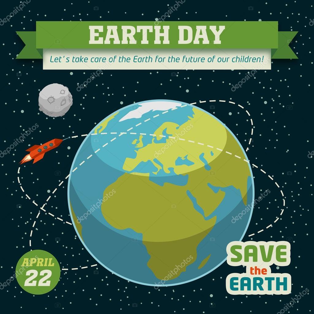 在平面设计上的时空背景下地球一天假期海报 — 矢量图片作者 paul