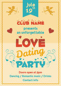 Love dating party flyer — Stock Vector