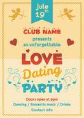 Liebe dating party flyer — Stockvektor