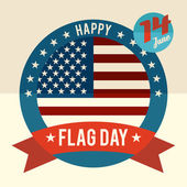 Flag Day of united states flat design card — Stock Vector