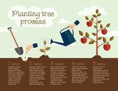 Planting tree process — Stock Vector