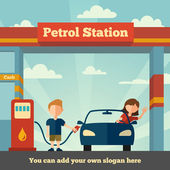 La estación de gasolina — Vector de stock