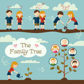 Planting the family tree — Stock Vector