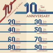 Colección signo del aniversario — Vector de stock
