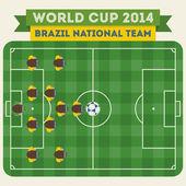 Brazil national football team 2014 — Stock Vector