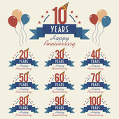 Anniversary sign collection — Stock Vector