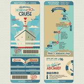 Viaggio di nozze carta d'imbarco crociera — Vettoriale Stock