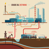 Illustration of a crude oil refining — Stock Vector