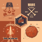 Mars colonization program flat design labels — Stok Vektör