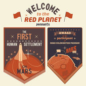 Award pennants for Mars colonization program — Stock Vector
