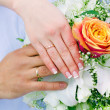 Stock Photo: Hands of newlyweds