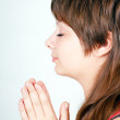 Ger girl folded her hands in prayer — Stock Photo