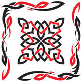 Adorno negro y rojo celta vector para el diseño — Vector de stock