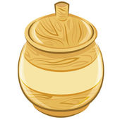 Wooden pot with a lid. vector illustration — Stock Vector